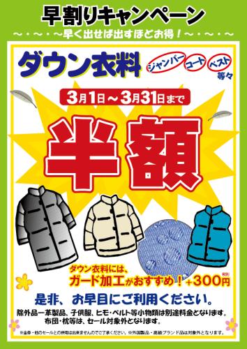 早割りダウンセール2013(半額)